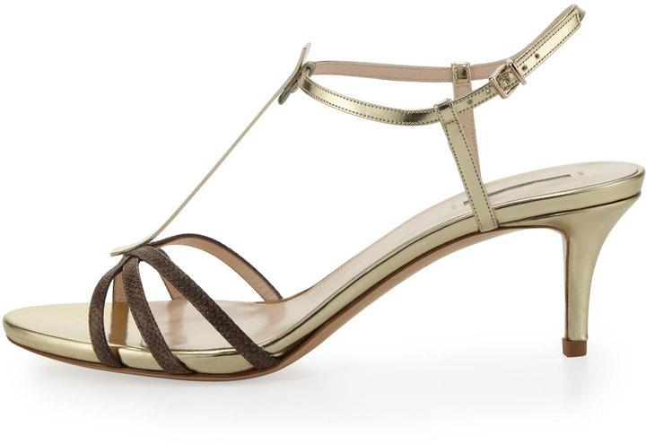 Giorgio Armani Snake Low-Heel T-Bar Sandal