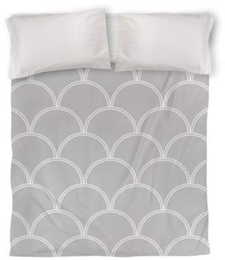 IDG Art Deco Circles Duvet Cover, Gray and White