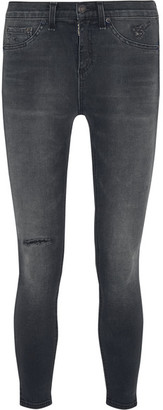 rag & bone - The Capri Cropped Distressed Mid-rise Skinny Jeans - Gray $215 thestylecure.com