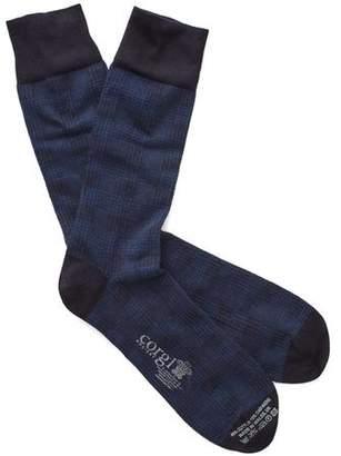 Corgi Cotton Cashmere Plaid Sock in Navy