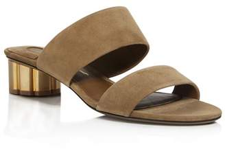 Salvatore Ferragamo Suede Low Heel Slide Sandals