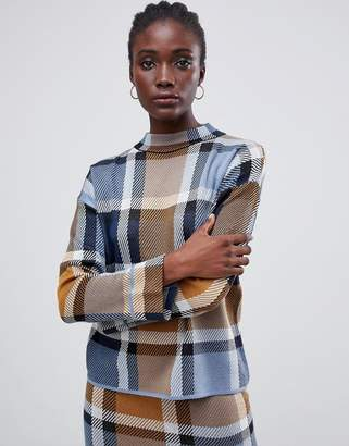 Warehouse funnel neck sweater in blue check