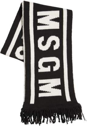 MSGM Logo Jacquard Knitted Blend Wool Scarf