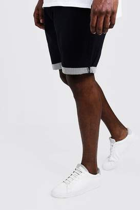 boohoo Big And Tall Chino Short With Stripe Turn Up