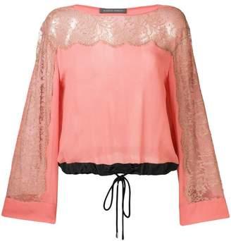 Alberta Ferretti lace inserts drawstring blouse