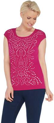 Susan Graver Liquid Knit Top with Laser Cut Detail