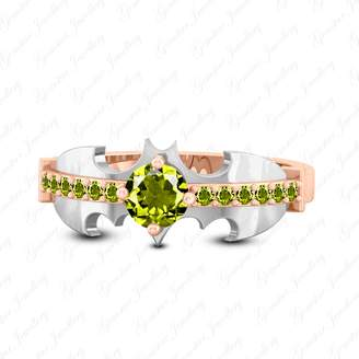 Gemstar Jewellery Rose & White Gold Finish Round Cut Green Peridot Superhero Wedding Batman Ring
