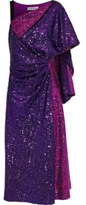 Prabal Gurung Nima Draped Sequined Tulle Midi Dress