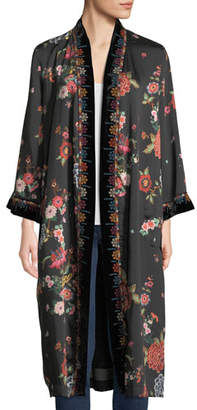 Johnny Was Mix Floral-Print Velvet Kimono Jacket, Plus Size