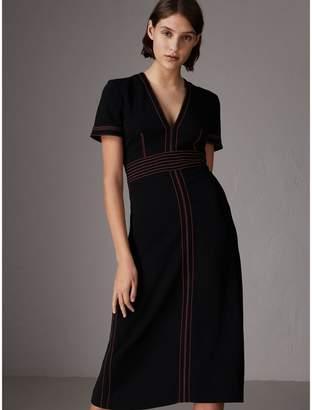 Burberry Contrast Topstitch Detail Crepe V-neck Dress