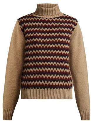A.P.C. Directrice Intarsia Wool Roll Neck Sweater - Womens - Beige Multi