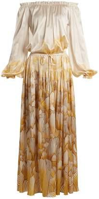 ADRIANA IGLESIAS Creek floral-print stretch-silk gown