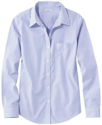L.L. Bean L.L.Bean Women's Wrinkle-Free Pinpoint Oxford Shirt, Long-Sleeve Relaxed Fit Stripe