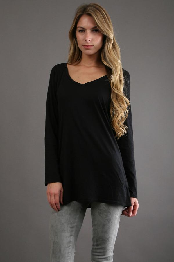 Lanston V Neck Tunic in Black
