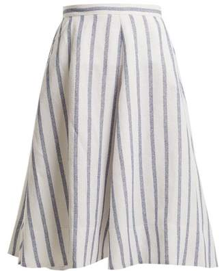 Thierry Colson Biarritz Spunga Striped Linen Blend Skirt - Womens - Blue Stripe