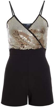 Quiz TOWIE Black and Gold Sequin Wrap Playsuit