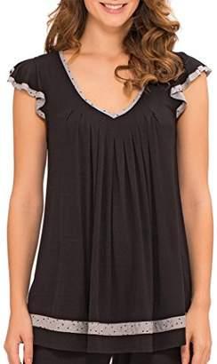 Ellen Tracy Women's Short Sleeve Flutter Top