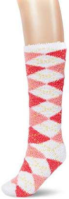 Toes in A Blanket Women's Ladies fluffy yarn knee high socks with diamond patterns