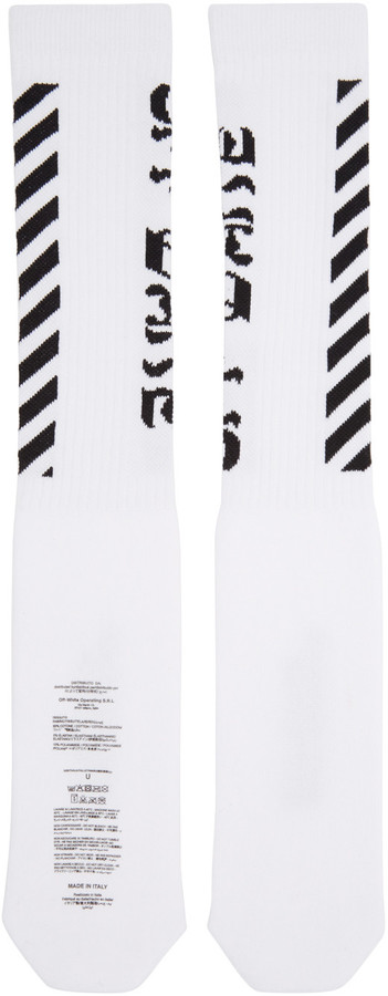 Off-White White Diagonal Logo Socks 3