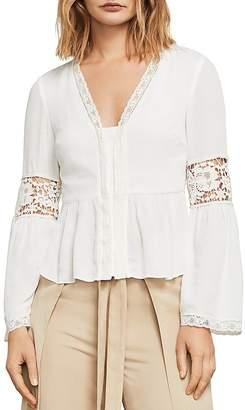 BCBGMAXAZRIA Kammy Lace-Trim Bell Sleeve Top