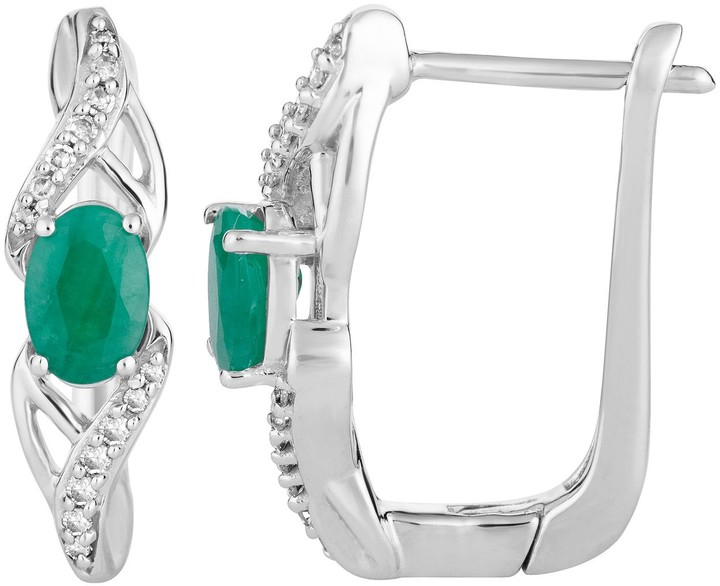 10k White Gold Emerald & 1/10 Carat T.W. Diamond Latch Back Earrings