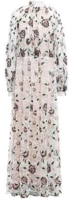 Giambattista Valli Pleated Embroidered Metallic Lace Maxi Dress