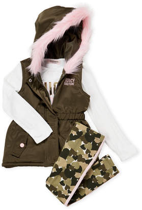 Juicy Couture Girls 4-6x) 3-Piece Faux Fur Trim Hooded Vest & Camouflage Leggings Set