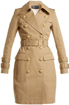 Balmain Notch-lapel gabardine trench coat