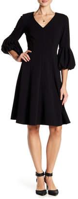 Modern American Designer V-Neck 3/4 Length Puff Sleeve Scuba Crepe Dress