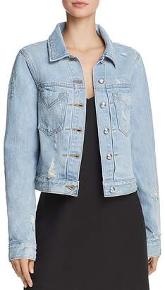 Derek Lam 10 Crosby Nico Distressed Denim Jacket in Super Light Wash Splash