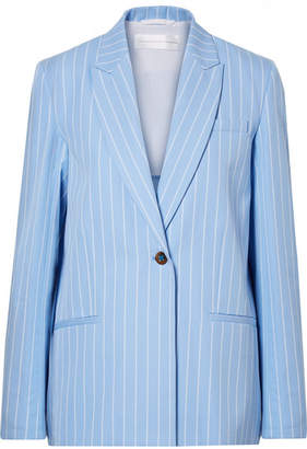 Victoria Beckham Victoria, Pinstriped Cotton-twill Blazer - Light blue