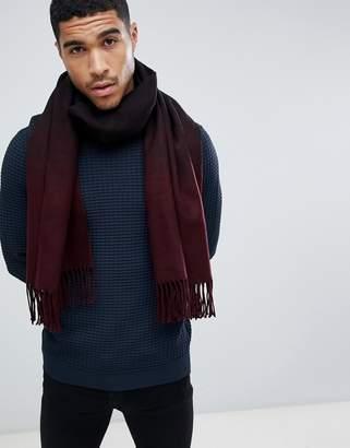 Asos Design DESIGN blanket scarf in burgundy ombre