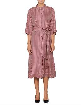 Diane von Furstenberg 3/4 Slv Belted Shirt Dress