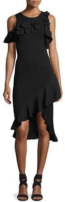 A.L.C. Kellam Crewneck Sleeveless Dress with Ruffled Trim