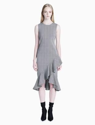 Calvin Klein plaid asymmetrical ruffle hem dress