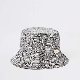 River Island Womens Grey snake print bucket hat