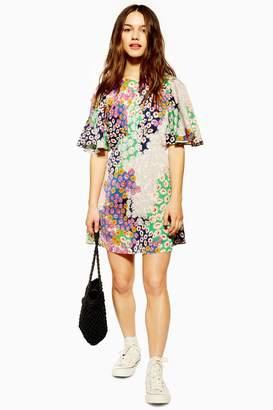 d6188c75d Topshop Womens Petite Austin Floral Print Angel Sleeve Mini Dress - Multi