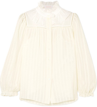 See by Chloe Ruffle-trimmed Striped Cotton-blend Jacquard Blouse