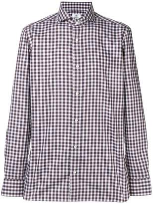 Borrelli gingham cutaway collar shirt