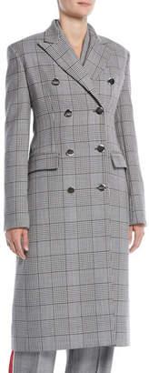 Calvin Klein Double-Breasted Check Virgin Wool Blazer Coat