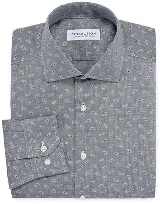 COLLECTION Collection by Michael Strahan Wrinkle Free Cotton Stretch Mens Spread Collar Long Sleeve Wrinkle Free Stretch Dress Shirt