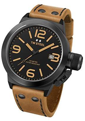 TW Steel Canteen Leather Unisex Quartz Watch with Black Dial Analogue Display and Brown Leather Strap CS42