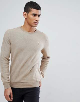 Polo Ralph Lauren Texture Pima Cotton Knit Jumper Crew Neck Polo Player In Beige Marl