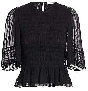 Etoile Isabel Marant Women's Janette Smocked Sheer-Sleeve Top