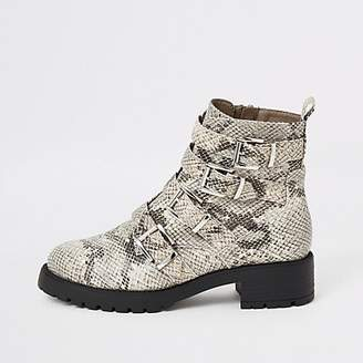 River Island Beige snake print buckle chunky ankle boots