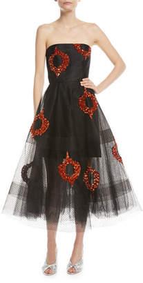 Sachin + Babi Bazaar Strapless Tulle Sequin Midi Dress