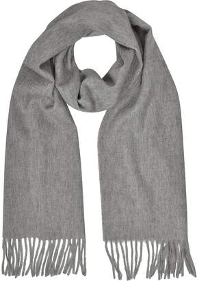 Mila Schon Cashmere and Wool Taupe Fringed Long Scarf