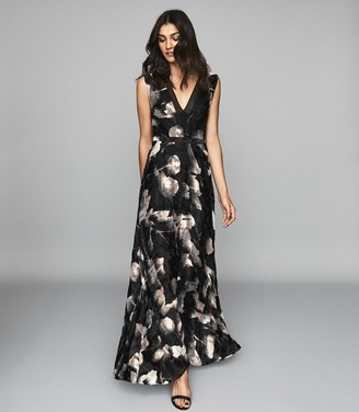 Reiss KAIRA Burnout maxi dress Neutral