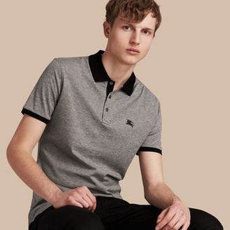 Burberry Fitted Cotton Polo Shirt With Tonal Trim $195 thestylecure.com