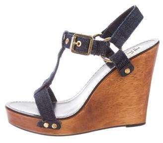 Tory Burch Denim Peep-Toe Wedges